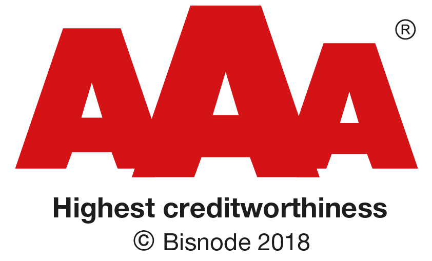 Highest Creditworthiness 2019 - AAA creditrating - Bisnode 2019